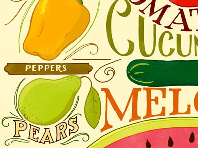 August Seasonal Produce detail  hand lettering illustration typography food vegetables