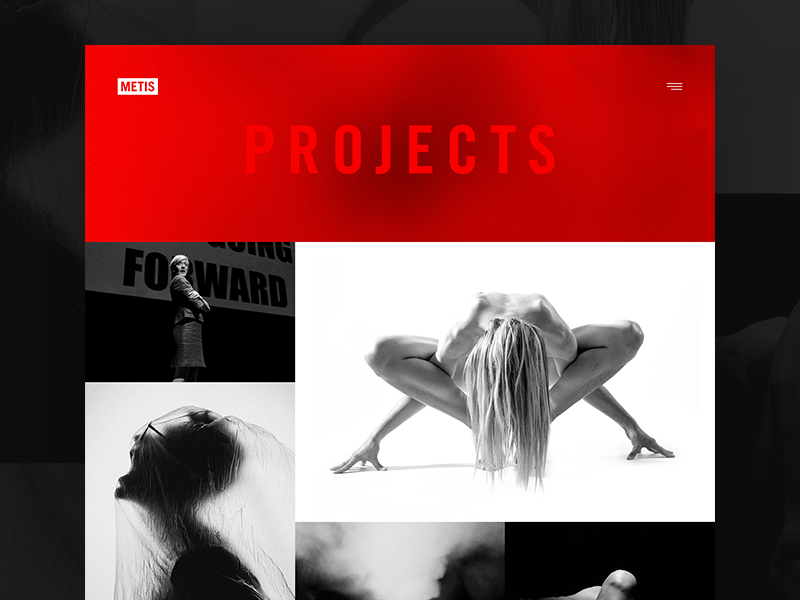 Archive concept for projects — Metis photography white art red hero website web layout monochrome minimal gallery grid