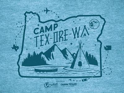 Camp Tex-Ore-Wa t-shirt graphic apparel texas oregon washington branding graphic apparel logo seattle vector illustrator illustration chad syme