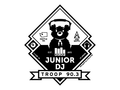 Troop 90.3 (version 1) bear illustration chad syme kexp seattle dj graphic apparel scout troop retro badge music