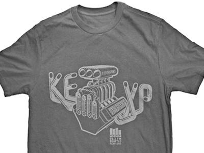 KEXP Hot Rod T-Shirt kexp 90.3 fm kexp.org non-profit hot rod engine vector illustrator digital illustration illustration music radio seattle chad syme syme shirt screenprint apparel graphic apparel