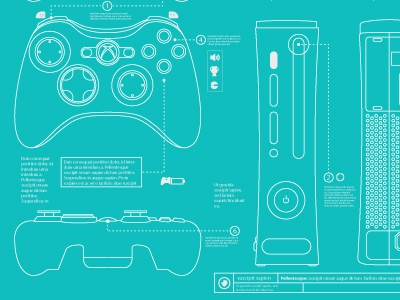 Xbox 360 Blueprints xbox xbox 360 microsoft controller game video game game console chad syme syme seattle illustrator illustration vector blueprint