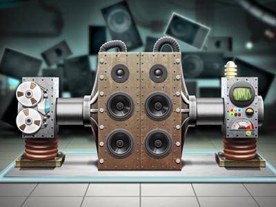 Press Machine xbox voice studio chad syme science laboratory sci-fi retro machine plasma electrical speakers