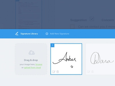 Signature Library signature library editor dragdrop