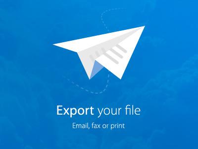 Paper plane icon paper icon jet fold blue export send