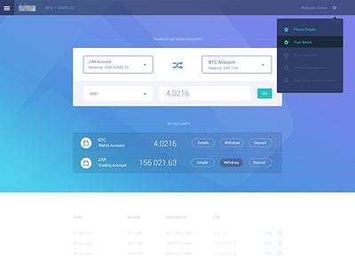 Dashboard Concept transfer bitcoin transparent finance app steps