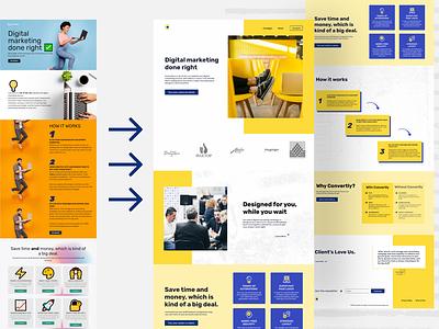 Re-design of convertly.com wordpress website web ui clean visual design landing page creative ux minimalistic animation ui design webdesign website