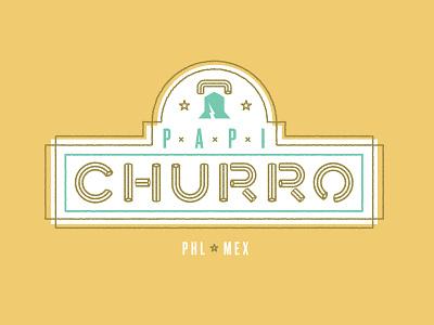 Papi Churro type logo churro liberty philly