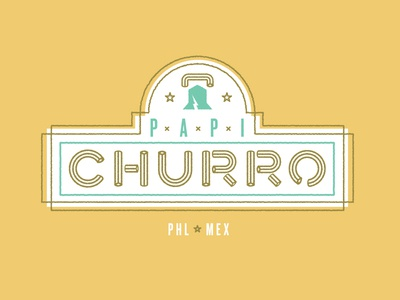 Papi Churro type logo churro liberty philly