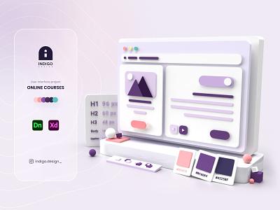 Indigo Design adobedimension adobe photoshop adobe illustrator adobe xd adobe website webdesign user interface userinterface ux ui 3d ui 3d design 3d art 3d dribbble