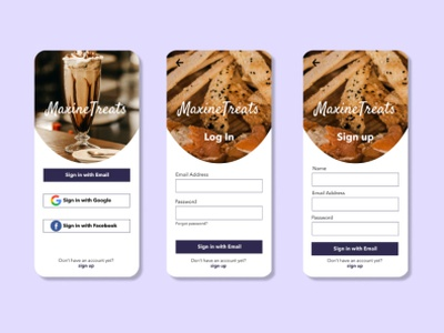 Maxine Treats create account sign in sign up onboarding