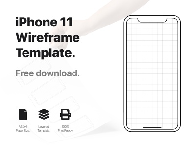 iPhone 11 wireframe template free download freebies design ui  ux template wireframe iphone 11