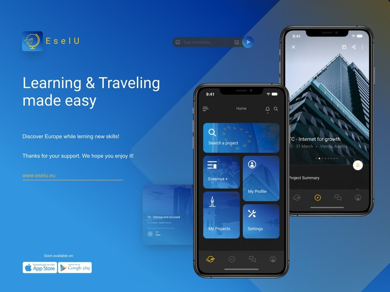 EselU App europe learn travel uiux ui design app plus erasmus