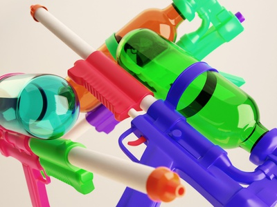 Super Soakers toy water gun super soaker plastic illustration 3d blender