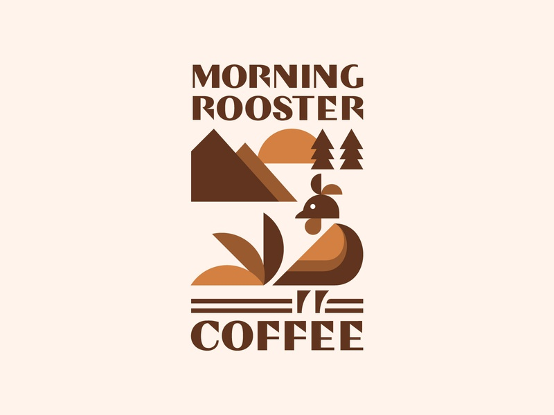 Morning Rooster Coffee Logo morning coffee nature art nature logo graphic design logos coffeeshop rooster flat logo logo design logotype branding design minimalist logo logo geometric design logodesign coffee logo coffee rooster logo animal logo