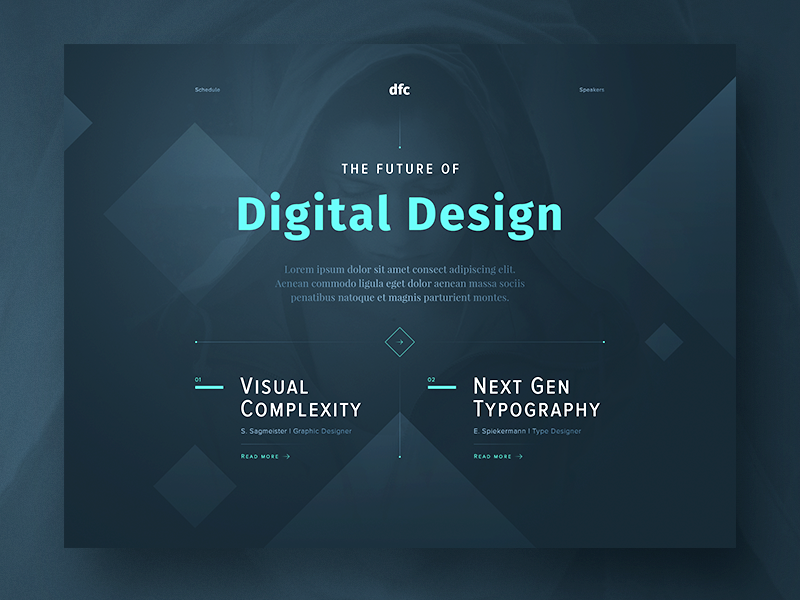 DFC — Design Future Conference web design website interface design ui landing page concept conference design dark typography screendesign webdesign