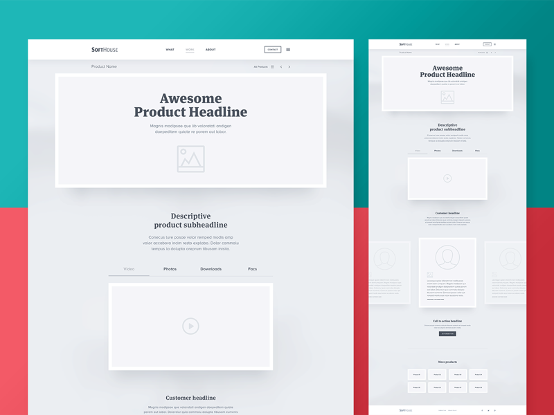 SoftHouse — Hi-Fidelity Wireframe — Product Page web design webdesign professionals creative wireframe preview template website designer bootstrap