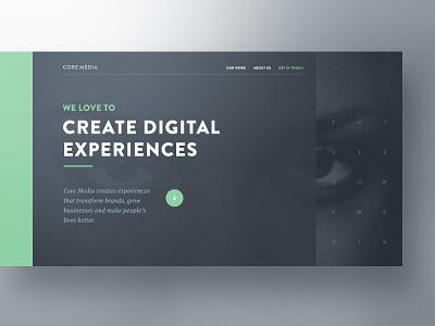 Core Media — Hero Exploration web design bootstrap designer website template preview agency creative professionals webdesign