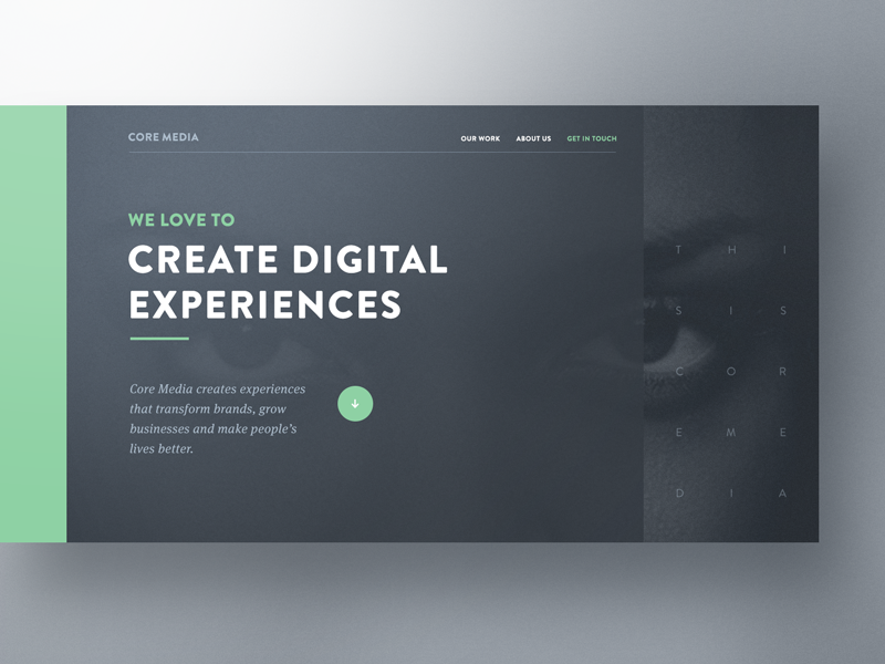 Core Media — Hero Exploration web design bootstrap designer website template preview agency creative professionals webdesign