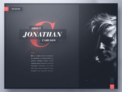 Jon Carlson — Creative Portfolio typography unsplash portfolio creative designer bootstrap template layout website webdesign web design