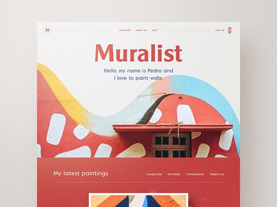 Muralist website web design webdesign typography template profile portfolio mural layout clean bootstrap artist