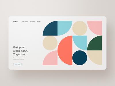 CUBIX — Project Collaboration and Organization ui website web design webdesign landing page color palette colors geometry slack teamwork collaboration project management