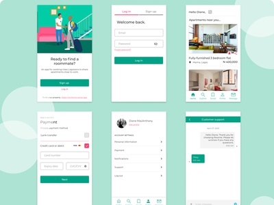 Roomie mobile app design product illustration ux ui app