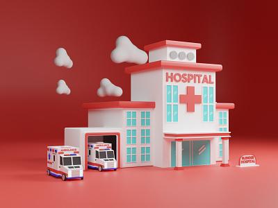 3D Hospital Illustration website web landing page art 3d artist 3d art blendercycles cycles artwork 3dartist blender3d blender illustration hospital 3d