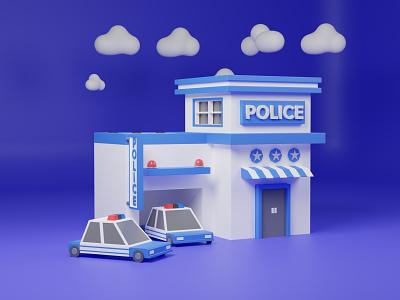 3D Police Station Illustration 3d artist lowpoly artwork 3dart illustration police station police 3d