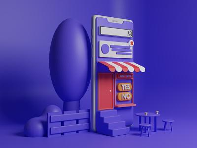 3D Smartphone Shop Illustration app illustration landing page ux ui website smartphone art 3d