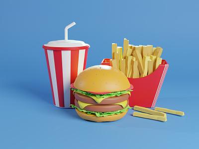 3D Burger Illustration blender 3d art art artwork drink food illustration burger 3d