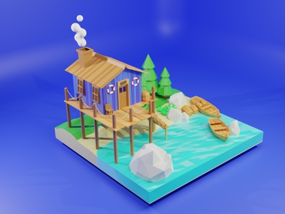3D Beach Illustration blender ux ui web landing page website 3dartist artist artwork 3dart illustration beach 3d