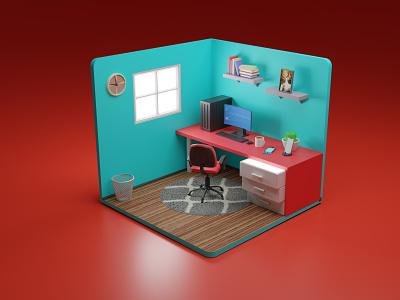 3D Isometric Room Office Illustration 3d artist 3d art art web website landing page animation artwork isometric blender office room illustration 3d