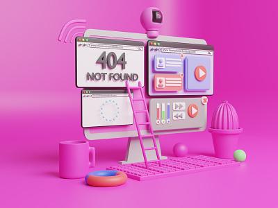 3D PC Website Illustration design 3dart apps web artist artwork blender illustration landing page website pc 3d