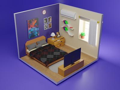 3D Isometric Room Illustration 3d art web art landing page artwork 3dart apps website blender illustration bed room isometric 3d