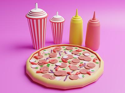 3D Pizza Low Poly Illustraton web website landing page blender artwork 3d art illustration food pizza lowpoly 3d