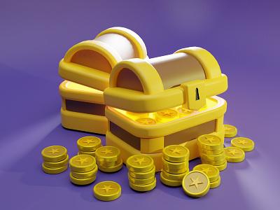 3D Treasure Chest Illustration 3dart 3d art web website landing page artwork 3d artist art illustration blender gold coin treasure 3d