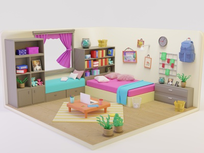 3D Bed Room Isometric Illustration colorful rooms website landing page isometric art isometrics artwork art illustration isometric room 3d