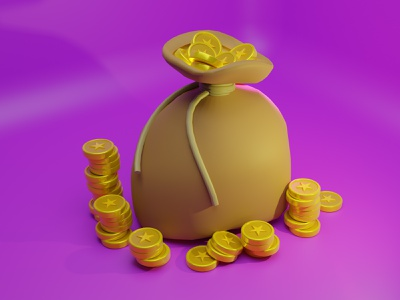 3D Treasure Bag Illustration web blender website landing page illustration design design artwork art illustration gold bag 3d
