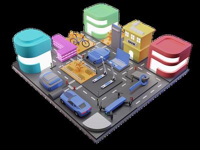Mini City Environment Illustration 3dart 3d art landing page blender website artwork illustration 3d