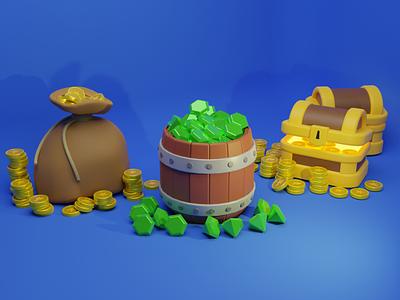 3D Artwork Barrel And Treasure Chest ui design ui art 3d art landing page blender website artwork illustration 3d
