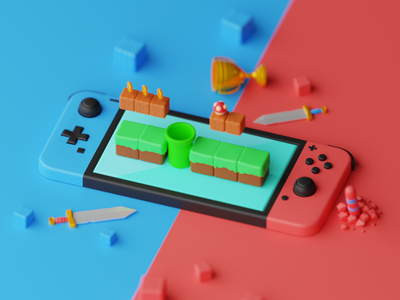 Nintendo Switch website isometric design art 3d art landing page blender artwork illustration 3d
