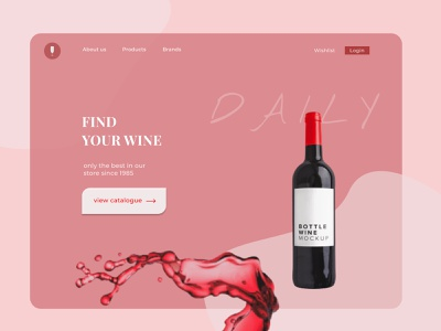 Wine shop landing page gastronomy portfolio web design ui ux landing page wine label wine shop