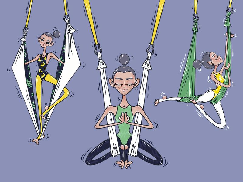 aerial yoga design yoga aerial procreate ipad illustration