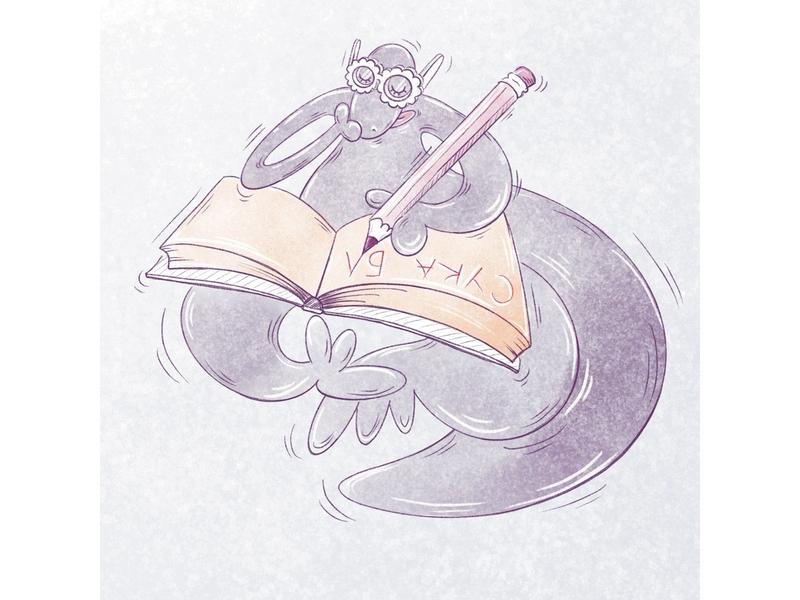 September mood digital illustration dinosaur school humor procreate ipad illustration
