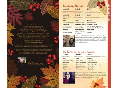 New Life Downtown: Fall Meal Groups 2020 community church branding branding booklet book non-profit nonprofit church autumn fall