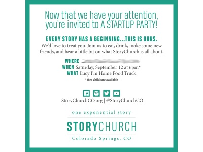 StoryChurch: Startup Party party invitation event marketing events event church marketing branding postcard church startup church branding nonprofit church