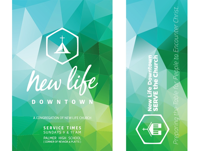 New Life Downtown / Stained Glass nonprofit church new life green teal blue stained glass