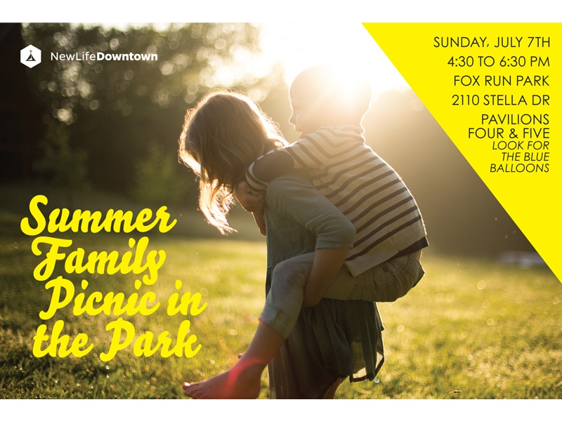 Picnic in the Park / NLD new life church new life downtown church design summertime outdoors kids postcard design postcard family colorado springs colorado summer picnic