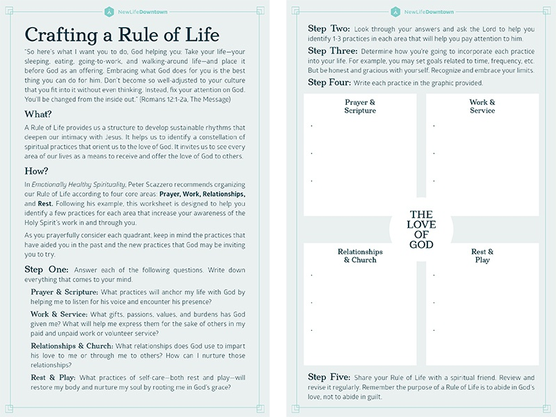 Crafting a Rule of Life / New Life Downtown worksheet handout colorado springs colorado non-profit nonprofit new life church new life downtown nld